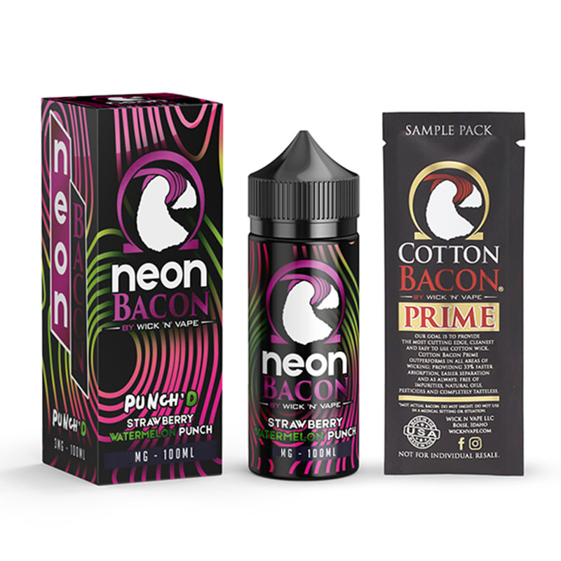 Ponche de fresa y sandía 100ml Eliquid Shortfills By Neon Bacon Wick N Vape 1