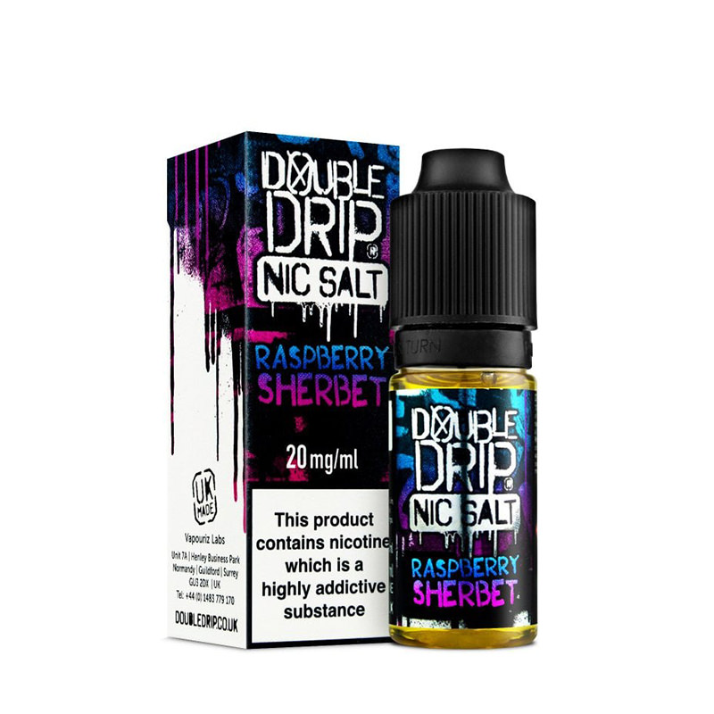 Raspberry Sherbet 10ml Nicotine Salt Eliquid By Double Drip Coil Sauce