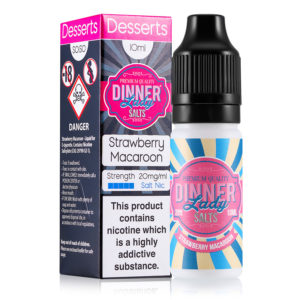 Strawberry Macaroon 10ml Nicotine Salt Eliquid By Dinner Lady salte