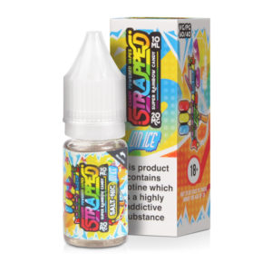 Super Rainbow Candy On Ice Nikotin Salt Eliquid flaske med kasse ved Strapped Salt Nic