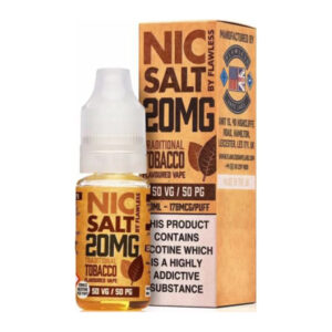 Traditional Tobacco Nic Salt By Flawless 10ml Nicotine Salt Eliquid Bottle With Box