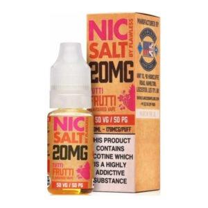 Tutti Frutti Nic Salt By Flawless 10ml Nicotine Salt Eliquid бутилка с кутия
