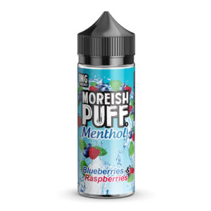 Moreish Puff Menthol Myrtilles Framboises Bouteille Eliquid Shortfill 100 ml