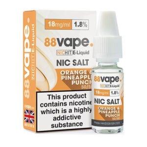 88vape Botella de eliquid de sal de nicotina con ponche de piña y naranja con caja