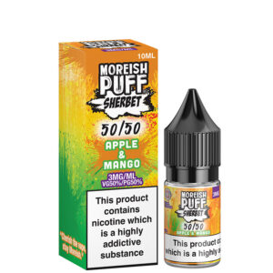 Apple Mango 5050 10ml 50 50 Eliquid Μπουκάλι με κουτί από Moreish Puff Sherbet
