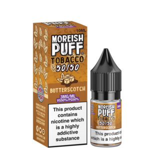 Garrafa de Butterscotch 10ml 50 50 Eliquid com caixa por Moreish Puff Tobacco 5050