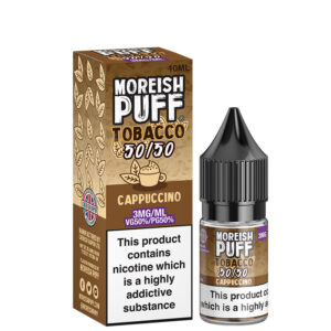 Cappuccino 10ml 50 50 Eliquid flaska med låda av Moreish Puff Tobacco 5050