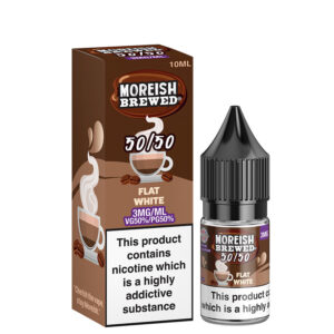 Botella de Eliquid Flat White 10ml 50 50 con caja de Moreish Elaborado 5050