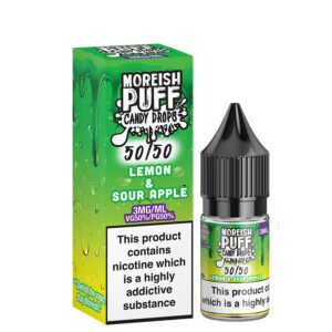 Lemon Sour Apple 10ml 50 50 Eliquid Bottle With Box By Moreish Puff Candy Drops 5050