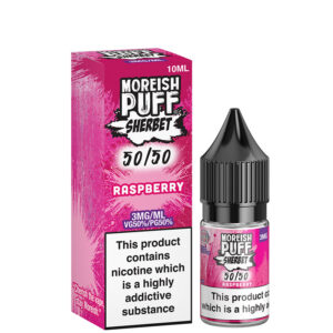 Hallon 10ml 50 50 Eliquid flaska med låda av Moreish Puff Sherbet 5050