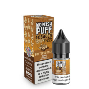 Butterscotch Tobacco Nic Salt Botella de eliquid de 10 ml con caja de Moreish soplo