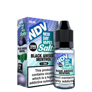 New Day Vapes Frasco de Mentol de Semente de Anis Preto 10ml Nic Salt Eliquid Com Caixa