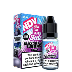 New Day Vapes Svarta vinbär 10 ml Nic Salt Eliquid flaska med låda