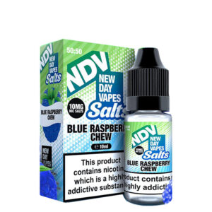 New Day Vapes Frasco Blue Raspberry Chew 10ml Nic Salt Eliquid Frasco com caixa