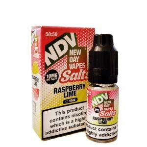 New Day Vapes Botella de eliquid de sal Nic de frambuesa y lima de 10 ml con estuche