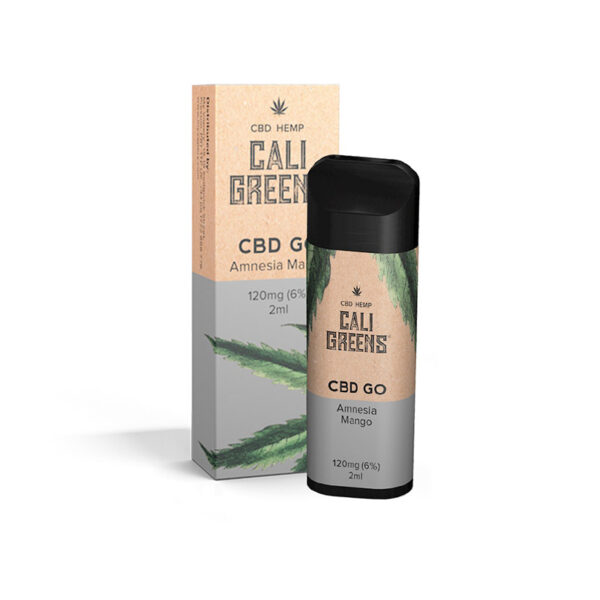 Cali Greens Cbd Go Amnesia Mango 120mg Cbd Eliquid 2ml Vaina desechable con caja