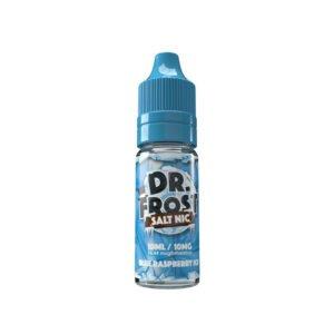 dr frost blå hallonis 10 ml nic salt eliquid flaska