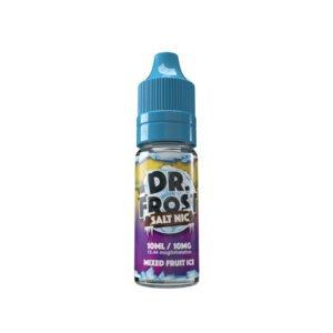 dr frost blandad fruktis 10 ml nic salt eliquid flaska