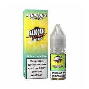 bazooka pineapple peach sour straws nic salt eliquid 10ml bottle with box