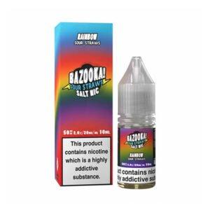 bazooka rainbow sour straws nic salt eliquid 10ml bottle with box